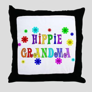 Hippie Grandma Throw Pillow