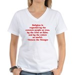 Religion is regarded by the c Women's V-Neck T-Shi
