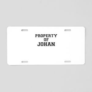 Property of JOHAN Aluminum License Plate