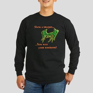 Slew a (Green) Dragon Long Sleeve Dark T-Shirt