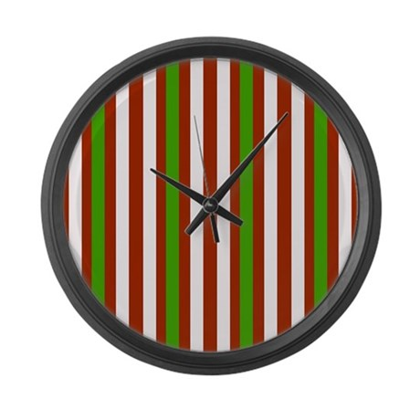 Holiday Stripes Large Wall Clock