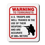 Warning To Terrorists Mousepad