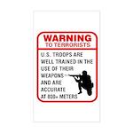 Warning To Terrorists Rectangle Sticker