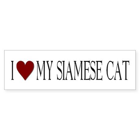 Bumper Sticker I love my Siamese Cat