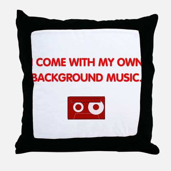Background Music (red) Throw Pillow
