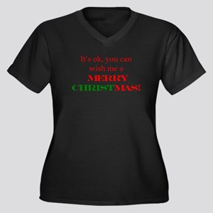 Wish me a Merry Christmas Women's Plus Size V-Neck