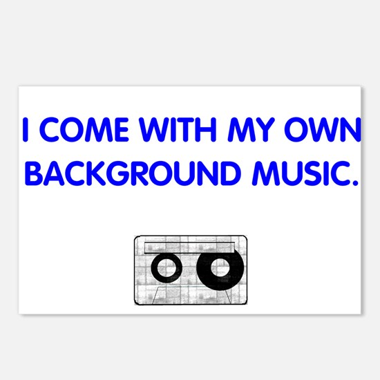 Background Music (blue) Postcards (Package of 8)