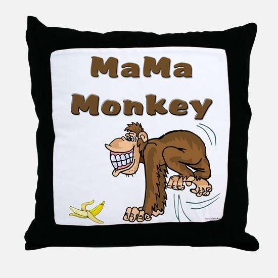 MaMa Monkey Throw Pillow