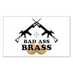 Bad Ass Brass Balls Rectangle Sticker