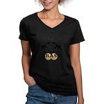 Bad Ass Brass Balls Women's V-Neck Dark T-Shirt