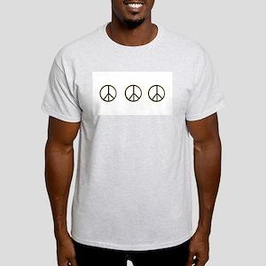 Triple Black Gold Peace Symbol  Ash Grey T-Shirt