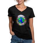 Autism Worldwide Women's V-Neck Dark T-Shirt