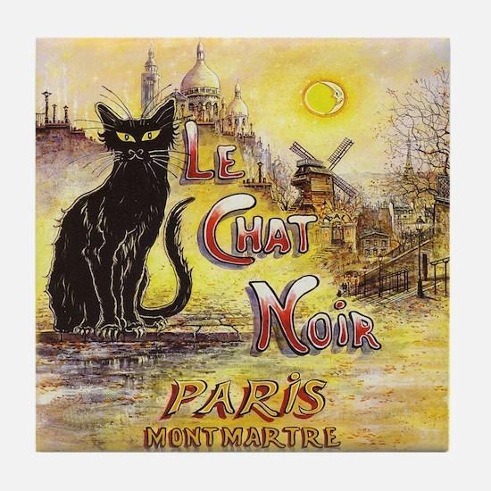 Chat Noir Paris Montmartre Art Tile Coaster