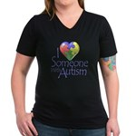 Someone with Autism Women's V-Neck Dark T-Shirt
