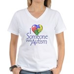 Someone with Autism Women's V-Neck T-Shirt