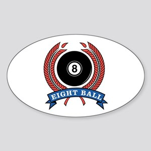 Eight Ball Red Emblem Oval Sticker