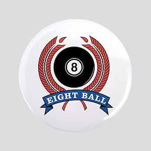 """Eight Ball Red Emblem 3.5"""" Button"""