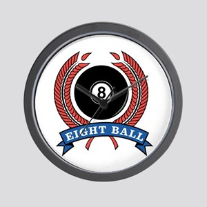 Eight Ball Red Emblem Wall Clock