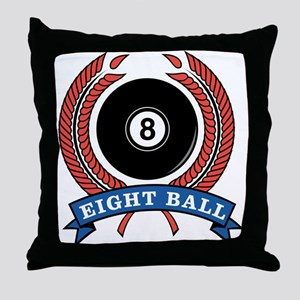 Eight Ball Red Emblem Throw Pillow