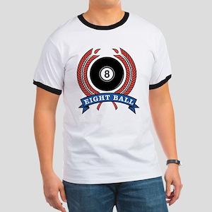 Eight Ball Red Emblem Ringer T