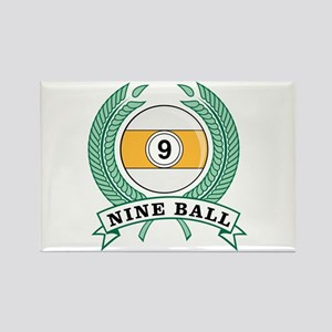 Nine Ball Green Emblem Rectangle Magnet