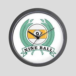 Nine Ball Green Emblem Wall Clock