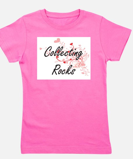 Collecting Rocks Artistic Design with Hear T-Shirt