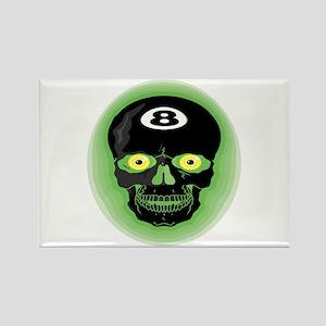 Eight Ball Skull Green Rectangle Magnet