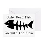 Only Dead Fish Greeting Cards (Pk of 10)