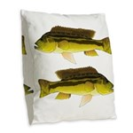 Brownspot Largemouth Cichlid Burlap Throw Pillow