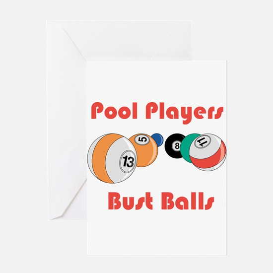 Pool Players Bust Balls Greeting Card