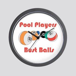 Pool Players Bust Balls Wall Clock