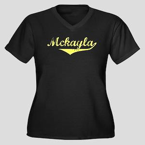 Mckayla Vintage (Gold) Women's Plus Size V-Neck Da