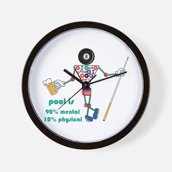 Pool: 90% Mental 10% Physical Wall Clock