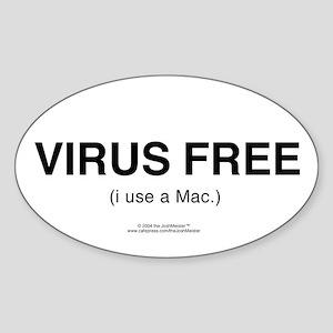 """VIRUS FREE (i use a Mac.)"" Oval Sticker"