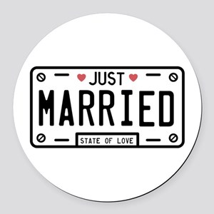 Just Married Round Car Magnet