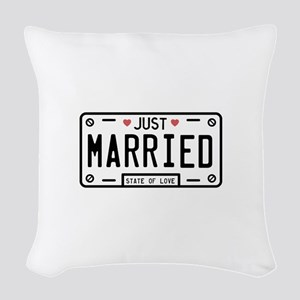 Just Married Woven Throw Pillow