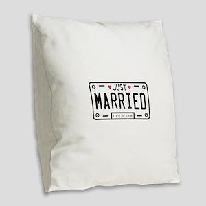 Just Married Burlap Throw Pillow