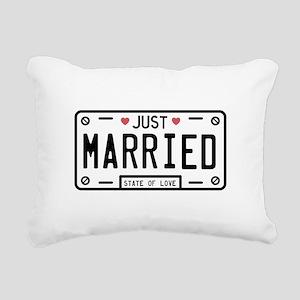 Just Married Rectangular Canvas Pillow