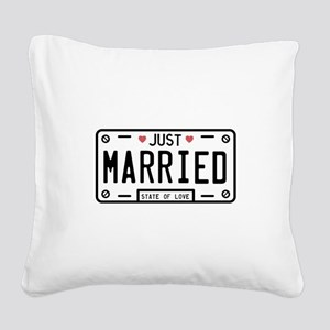 Just Married Square Canvas Pillow