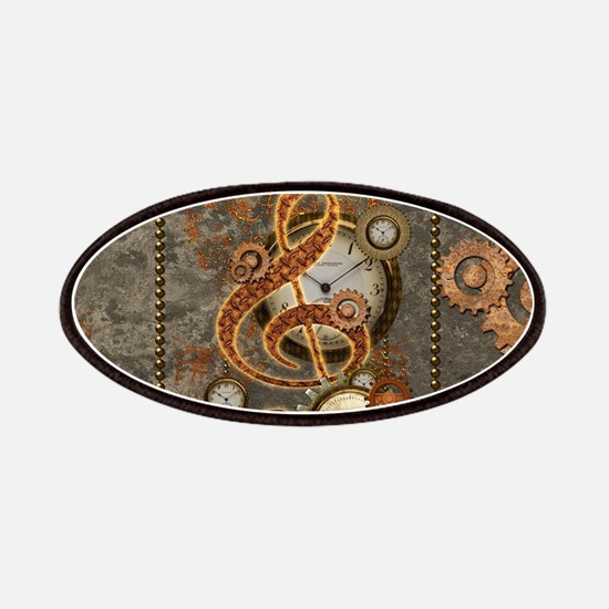 Steampunk, clef with clocks Patch