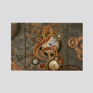 Steampunk, clef with clocks Magnets