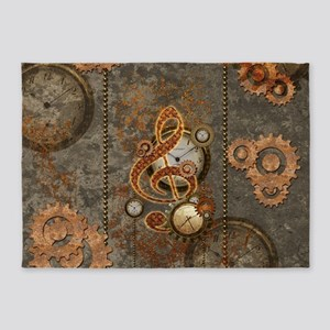 Steampunk, clef with clocks 5'x7'Area Rug