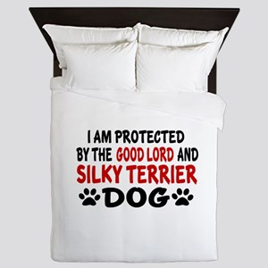 Protected By Silky terrier Dog Queen Duvet