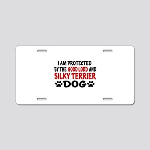 Protected By Silky terrier Aluminum License Plate