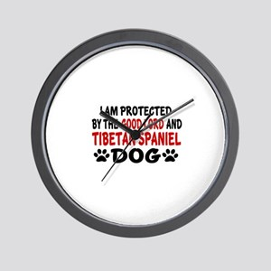 Protected By Tibetan Spaniel Wall Clock