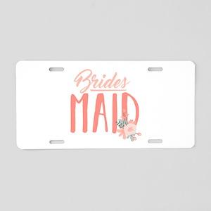 Bridesmaid Flowers Aluminum License Plate