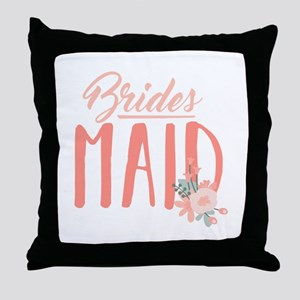 Bridesmaid Flowers Throw Pillow