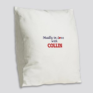 Madly in love with Collin Burlap Throw Pillow