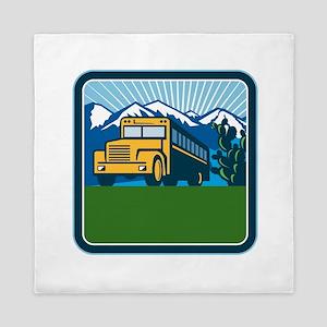 School Bus Cactus Mountains Square Retro Queen Duv